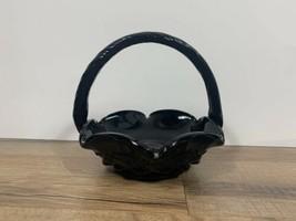 Westmoreland Plum Glass Co PG Black Grape Floral Glass Basket Decor - $27.72