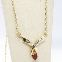 Necklace Yellow Gold 18K, Centre Ruby & Diamond Princess Cut, Chain - $1,160.07