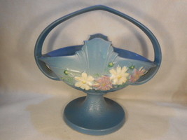 "Vintage Roseville Blue Cosmos Handled Basket marked 358-12"" - $391.05"