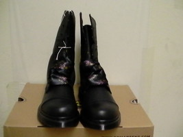 Women's dr martens leather boots biking Aimilita black size 5 us new  - $128.65