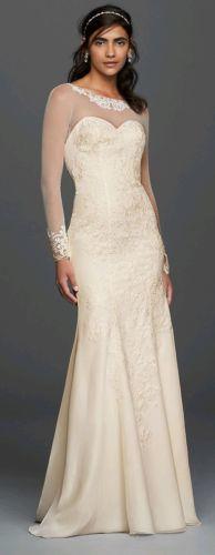 Long Sleeved Chiffon Wedding Dress David's Bridal Collection Size 10