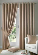 Jacquard Check Latte Beige Lined Ring Top Eyelet Curtains Drapes 6 Sizes - $42.44+