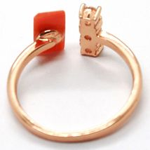 925 Silver Ring, Pink, Trilogy, Coral Red Rectangular Made in Italy image 3