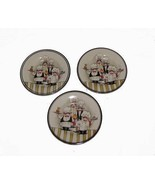 "3 HD Design Whimsical Chefs Waiters 8-1/2"" Deep Salad Plates Thick HEAVY... - $22.99"
