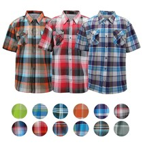 Men's Short Sleeve Cowboy Button Down Casual Plaid Pattern Western Dress Shirt
