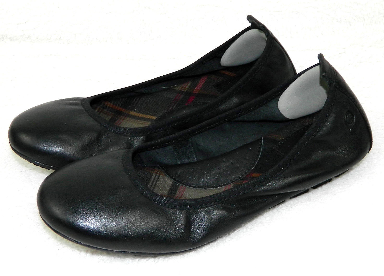 BORN Womens 6 BALLET FLATS Shoes BLACK LEATHER Slip On CAREER CASUAL     R