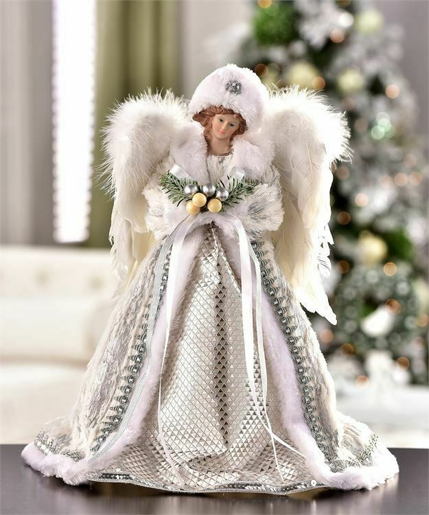 """16"""" Christmas Holiday Angel Tree Topper White with Elegant Robes and Wings"""