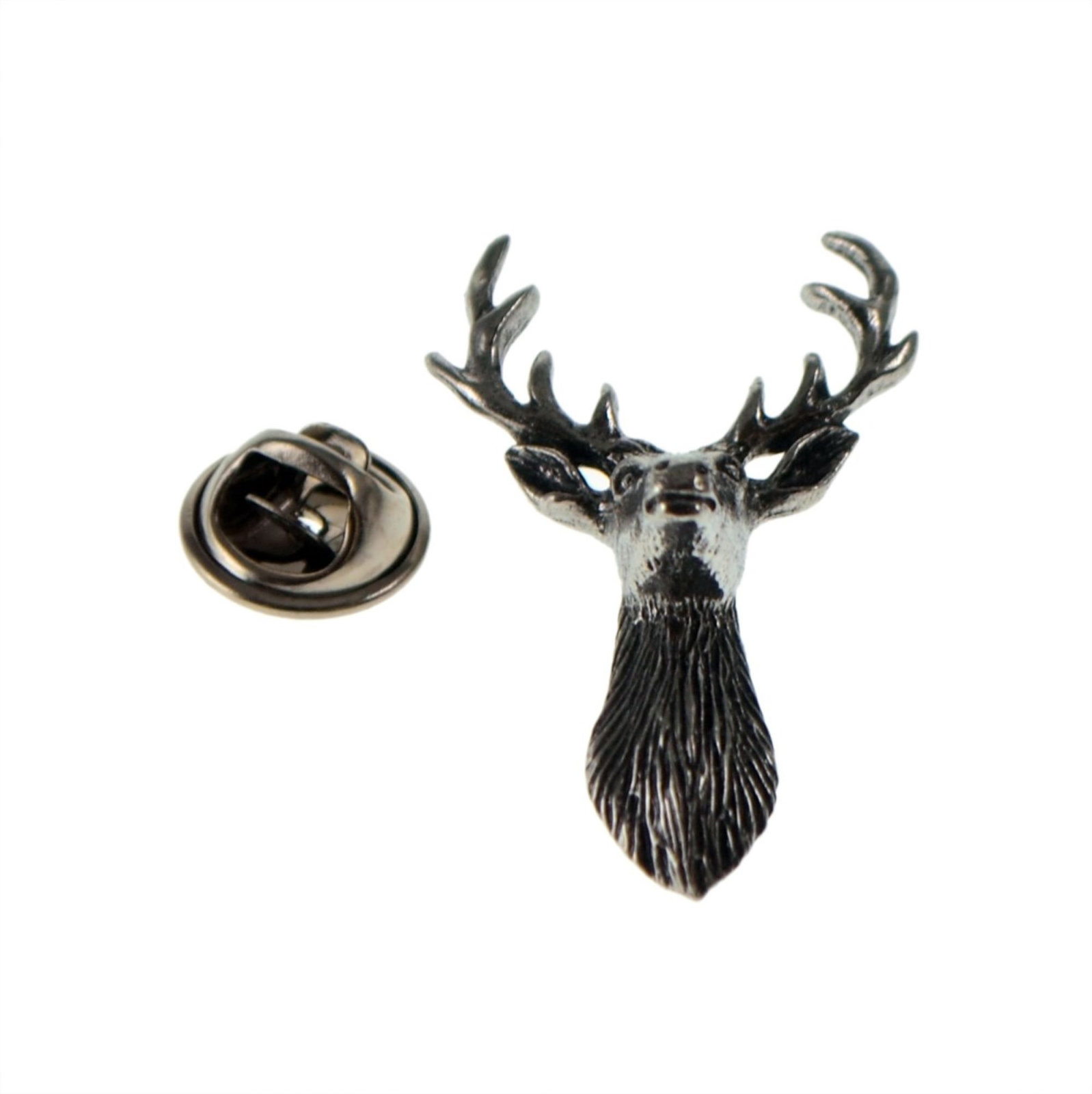 Scottish Stag Full Antlers tie pin, Lapel Pin Badge, in gift box deer, reindeer