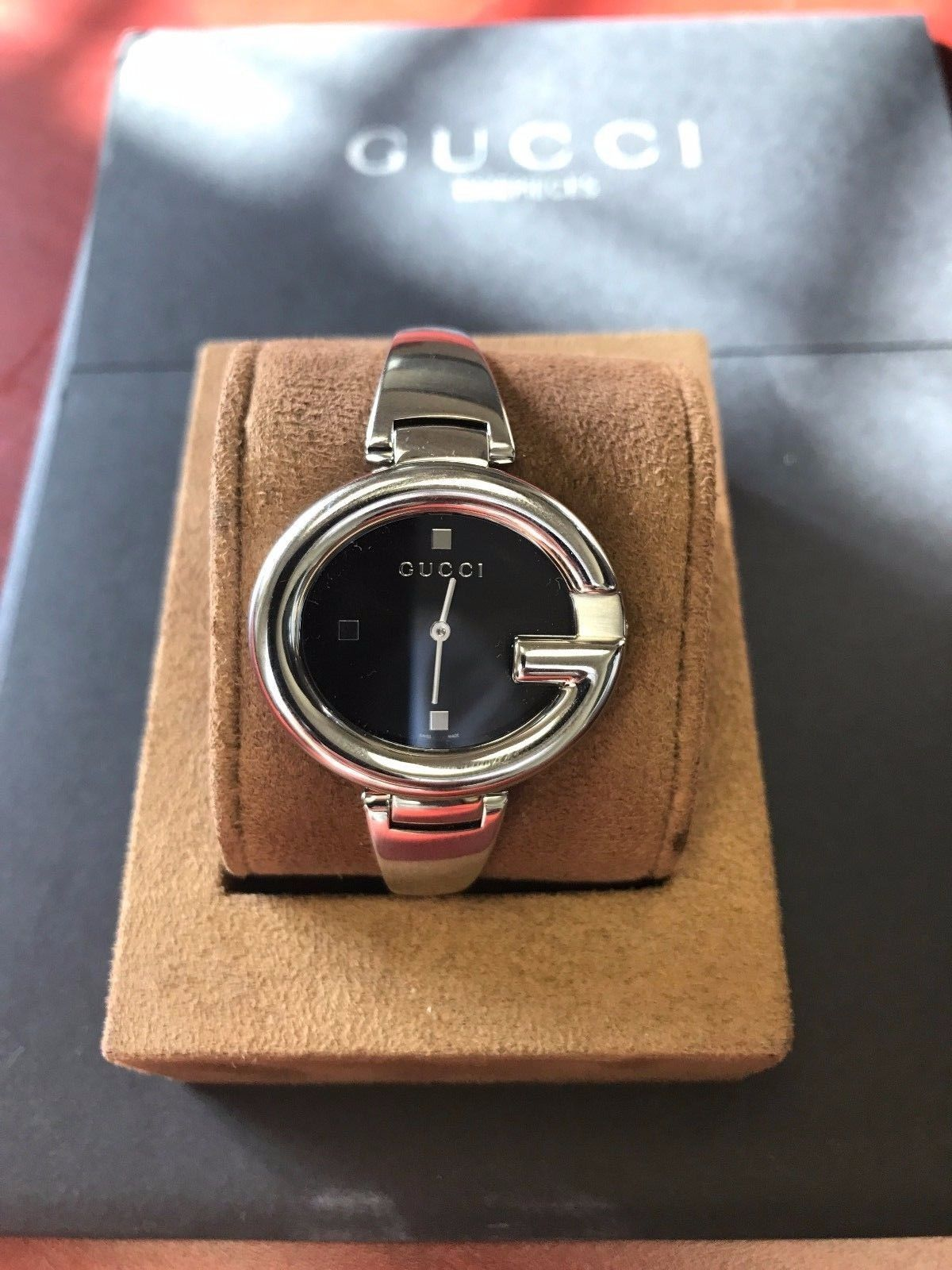 bedabfdc58f 57. 57. Previous. Gucci ya134301 Guccissima Black Dial Stainless Steel  Ladies