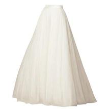 White Long Tulle skirt White Bridal Tulle Skirt High Waisted White Tulle Skirt image 1