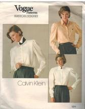 1211 Uncut Vogue-Schnittmuster Misses Lose Passform BLUSE Calvin Klein V... - $9.99