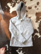 Pre-owned Mayoral J EAN S Gray Snap Button Nail Head Detail Fitted Hoodie Sz 6 - $29.70