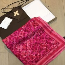 LOUIS VUITTON Petit Scarf Scarves Monogram Silk 100% Red Women Luxury Au... - $353.12