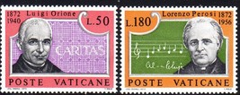1972 Orione and Perosi Set of 2 Vatican Postage Stamps Catalog Number 526-27 MNH