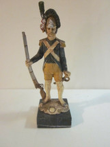 VINTAGE ITALIAN MADE NAPOLEONIC STYLE BLUE PRUSSIAN SOLDIER CARRARA MARB... - $9.99