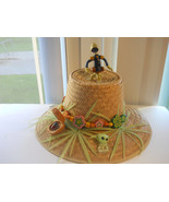 Decorative Straw Hat Handmade Dress Party Crafts P10002 - $57.90