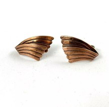 Vintage COPPER BY BELL Mid Century Signed Screw Back Earrings - $18.77
