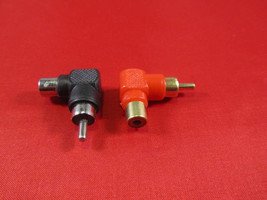 Lot of 2, RCA Male to Female Right Angle Adapter 90 Degree, Black and Red. - $3.99