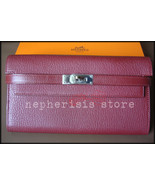 AUTH BNIB Hermes KELLY LONG WALLET Classic Rouge H Chevre Mysore with PHW - $4,300.00