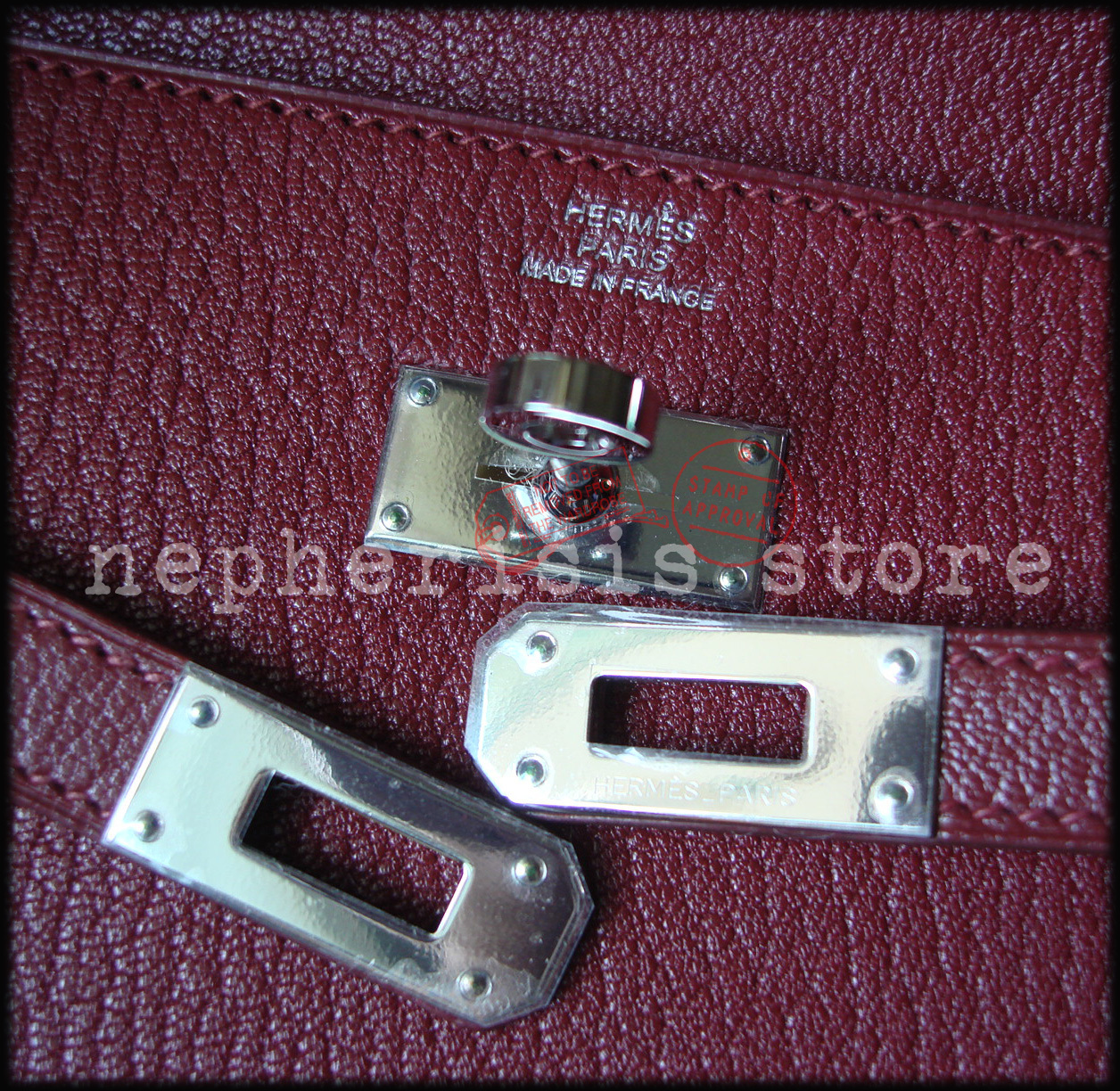 AUTH BNIB Hermes KELLY LONG WALLET Classic Rouge H Chevre Mysore with PHW