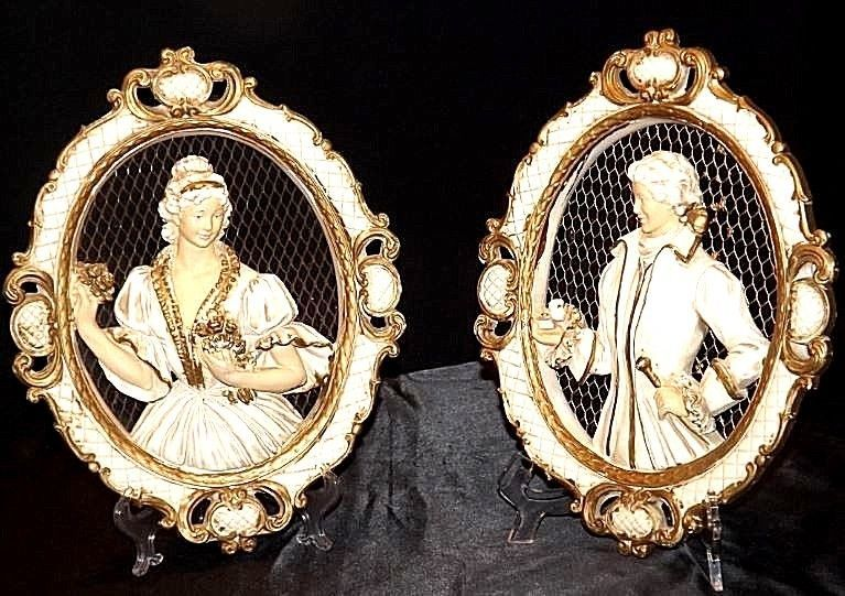 Plaques Ceramic Victorian His and Her  AA18-1328 Vintage