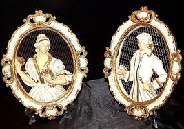 Plaques Ceramic Victorian His and Her  AA18-1328 Vintage image 1