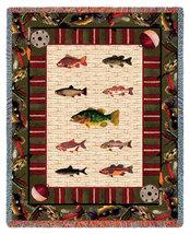 70x54 Gone Fishing Fish Tapestry Afghan Throw Blanket  - $60.00