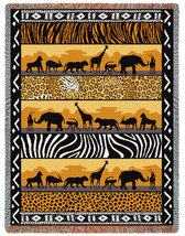 69x48 Wild African Animals Tapestry Afghan Throw Blanket - $45.00