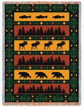 69x48 Timberline Lodge Bear Moose Fish Tapestry Afghan Throw - $49.95