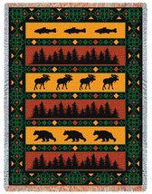 69x48 Timberline Lodge Bear Moose Fish Tapestry Afghan Throw - $60.00