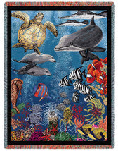 70x54 Ocean Sea Turtle Dolphin Fish Tapestry Afghan Throw - $60.00