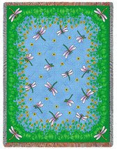 70x54 Dancing Dragonfly Tapestry Afghan Throw Blanket - $60.00