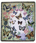 60x50 Butterfly  Floral Tapestry Afghan Throw Blanket - $40.00