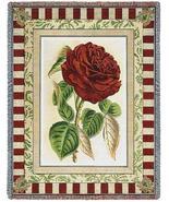 70x53 Red ROSE Floral Tapestry Afghan Throw Blanket - $60.00