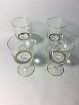 Crystal White wine Glasses Triple Gold Rim VINTAGE 4 pcs Glass Regency - $59.39