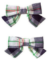 Prep School  Gymboree NWT Plaid Bow Barrettes  - $8.49