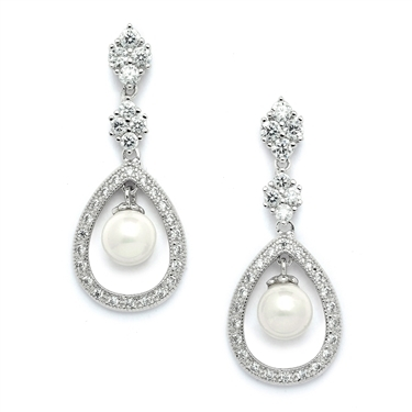 Pave CZ Wedding Clip Earrings with Caged Pearl