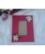 Paper Quill Red Poinsettia Hanging Picture Frame Ornament Handcrafted 3D - $14.99