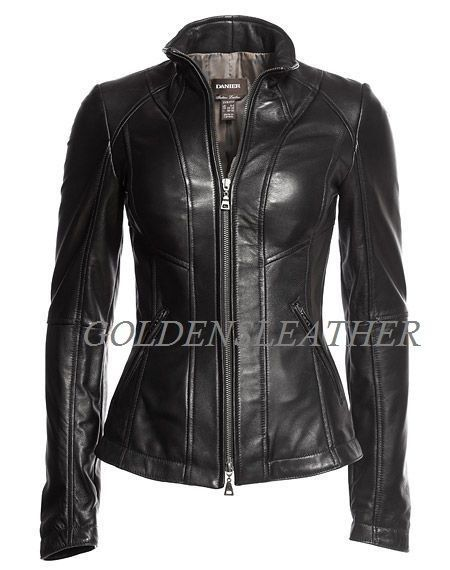 WOMEN BIKER MOTORCYCLE CASUAL SLIM FIT RIDER REAL GENUINE  LEATHER JACKET-A53