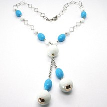 SILVER 925 NECKLACE, SPHERES AGATE WHITE FACETED, TURQUOISE OVAL, PENDANT image 2