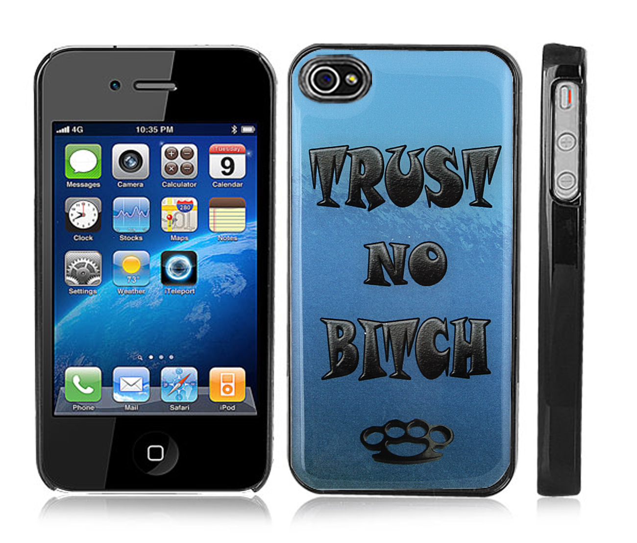 Black Snap-on iPhone 4/4s Cover Case - Trust No Bitch Design
