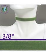 Moss VELVET Choker 3/8 inch 10 mm wide Custom Size Handmade USA sage gre... - $5.50