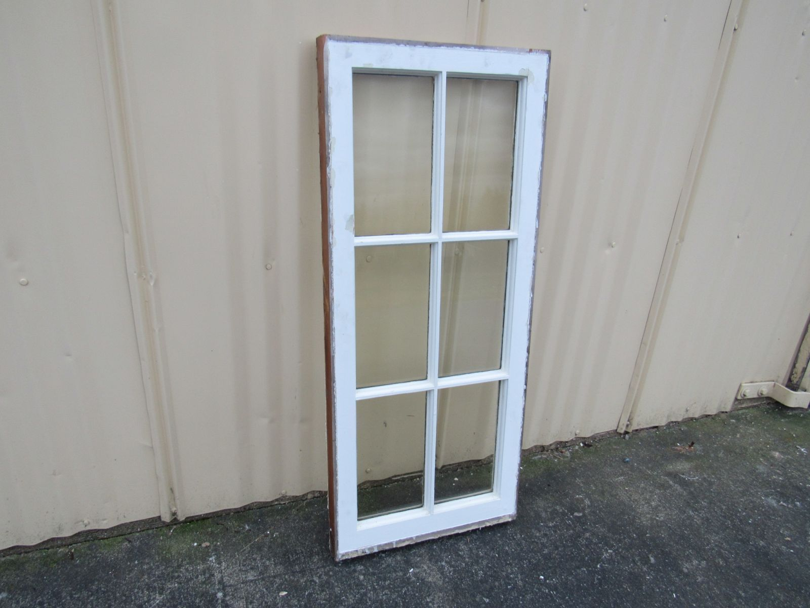 Handcrafted Antique Exterior True Divided Window Type G White 40in x 17in Wood