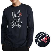 Men's Psycho Bunny Long Sleeve Shirt Parkhouse Graphic Tee Logo Navy Shirt
