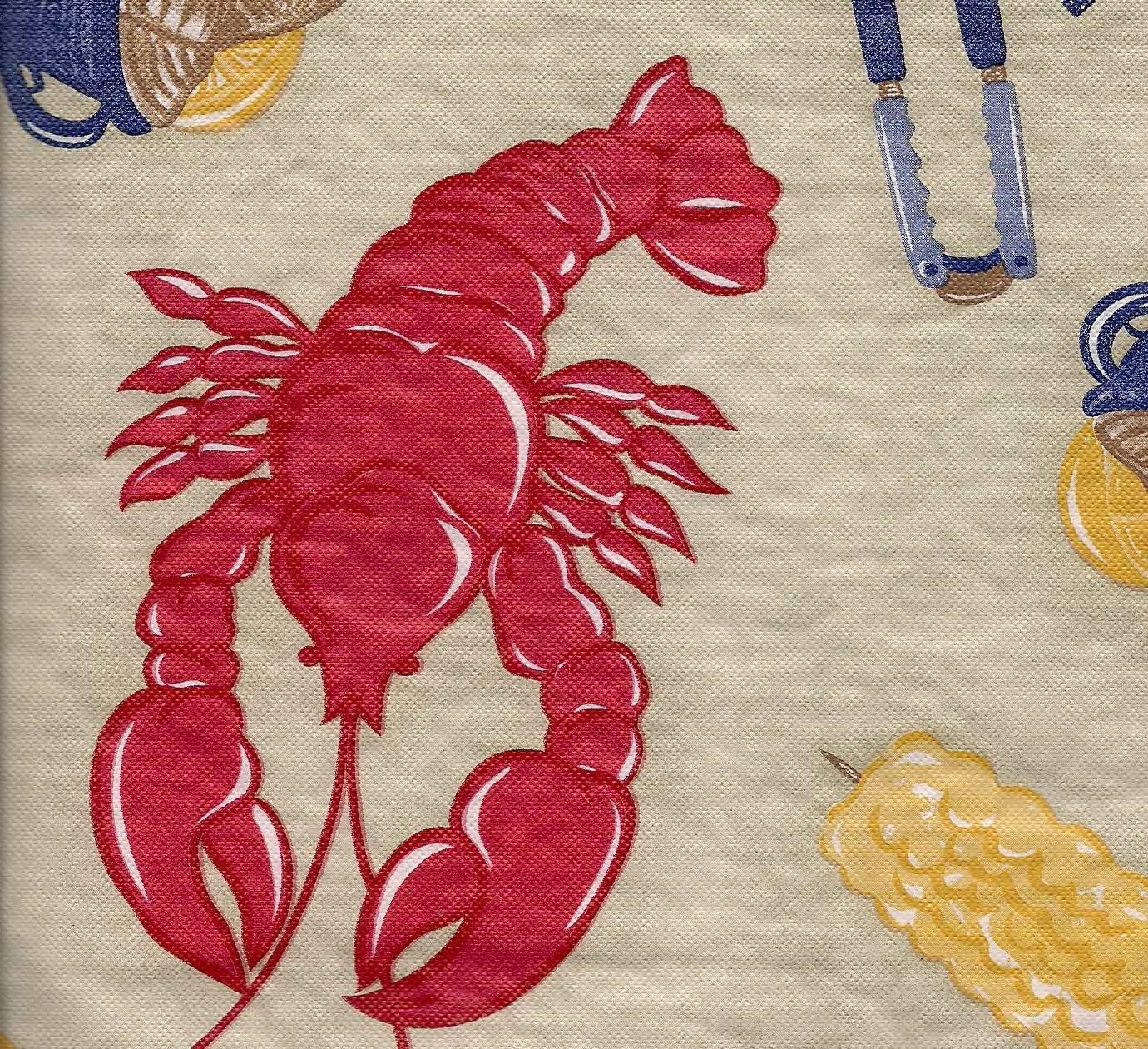 Backyard Clambake Lobster Vinyl Tablecloth flannel back 52 x 52
