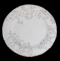 "APHORISM Cream-Almond Crackle Embossed Scroll HUGE Melamine 19"" Tray Pla... - $39.99"