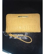 Steve Madden Wallet Mustard Stamped Logo Zip Organizer Wristlet Ships Free - $37.50