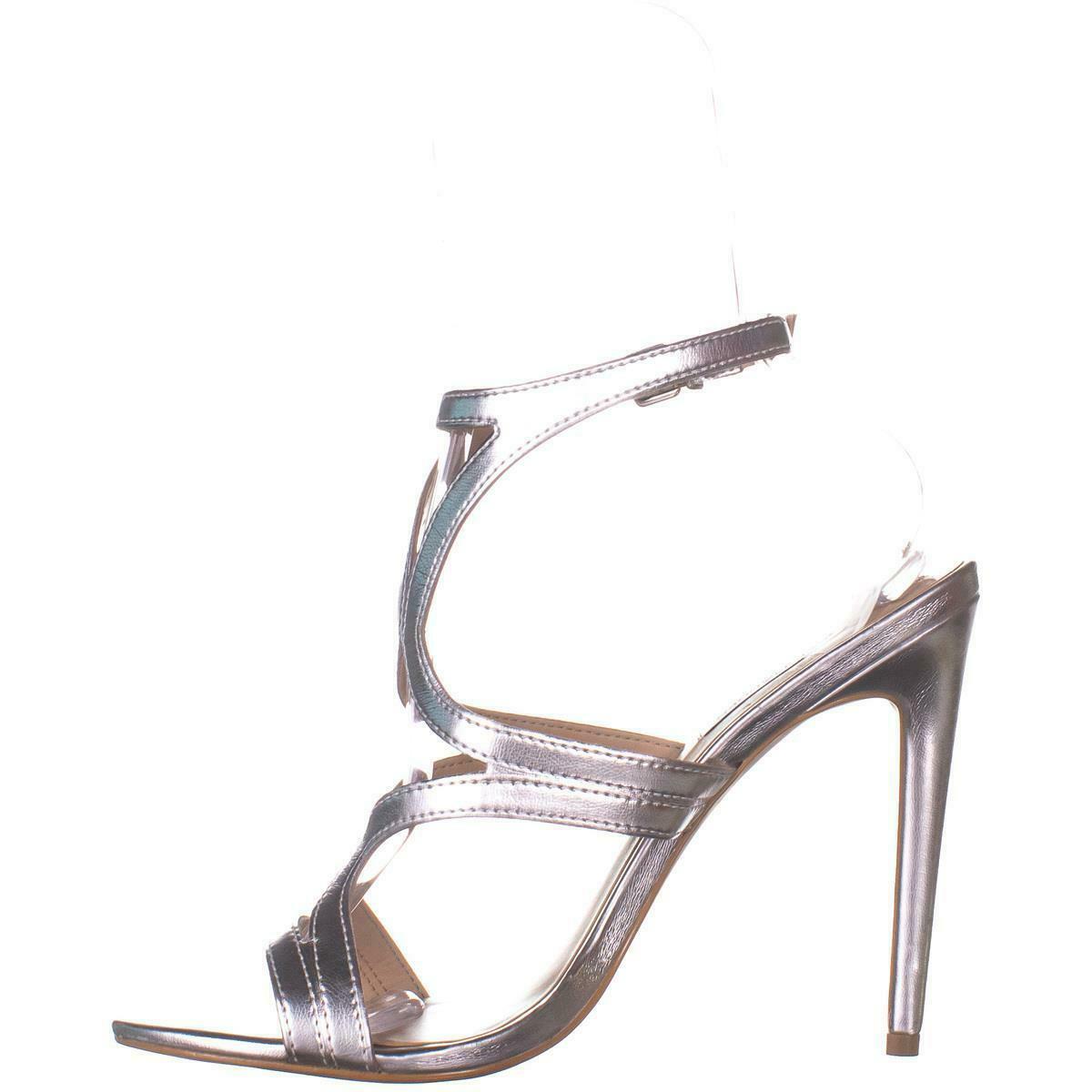 Steve Madden Sidney Ankle Strap Heeled Sandals 772, Silver, 10 US image 4