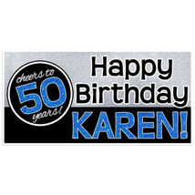 Cheers to 50 years – (Or Any Age) Blue Glitter Sparkle Happy Birthday Pe... - $423,02 MXN+