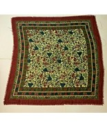 """MADE IN ITALY FRINGED RED FLORAL BERRY SQUARE SCARF 34"""" - $34.95"""
